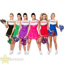 LADIES HIGH SCHOOL CHEERLEADER FANCY DRESS COSTUME CHEER GIRL OUTFIT ADULT POM