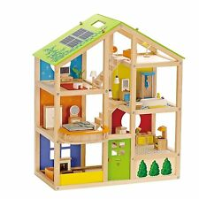 Hape All Season Wooden Doll House, Furnished For Ages 3 plus Years E3401 New