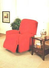 RED RECLINER COVER-ALSO COMES IN SOFA COUCH LOVESEAT CHAIR AND FUTON SLIPCOVERS