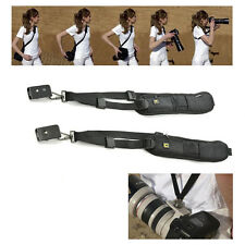 Black Single Shoulder Sling Belt Strap For DSLR Digital SLR Camera Quick Rapid *