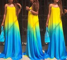 Womens Sexy Rainbow Long Beach Evening Party Cocktail Maxi Dress UK SIZE 8-14