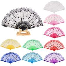 Sweet Style Sequined Lace Rose Flowers Hand Held Fan Dancing Party Fan 10 Colors