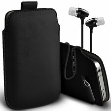 PU Leather Pull Tab Case Cover Pouch & Handsfree For Apple Iphone 4S