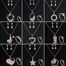 Fashion Crystal Wedding Bridal Rhinestone Necklace Earrings Ring Jewellery Set
