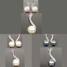 Bridesmaid Pearls Gold / White Necklace & Earrings use Swarovski Crystal p735s