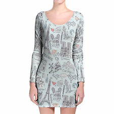 Bonjour Paris! Longsleeve Bodycon Dress XS-3XL All-Over-Print