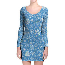 Snow Flakes Longsleeve Bodycon Dress XS-3XL All-Over-Print