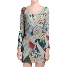 Kandinsky Abstract Art Painting Longsleeve Bodycon Dress XS-3XL All-Over-Print