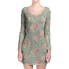 Pastel Floral Wallpaper Longsleeve Bodycon Dress XS-3XL All-Over-Print