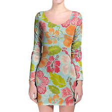 Aloha Longsleeve Bodycon Dress XS-3XL All-Over-Print