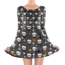 Geometric Skulls Longsleeve Skater Dress XS-3XL All-Over-Print