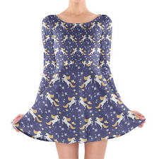Golden Unicorns Longsleeve Skater Dress XS-3XL All-Over-Print