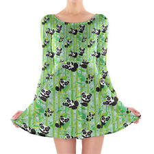 Panda Bears Longsleeve Skater Dress XS-3XL All-Over-Print