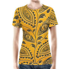 African Tribal Leaves Women Cotton Blend T-Shirt All-Over-Print