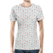 Shabby Chic Florals on Blue Women Cotton Blend T-Shirt All-Over-Print