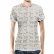 Vintage Horses Pattern on Grey Women Cotton Blend T-Shirt All-Over-Print