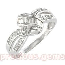 "9ct White Gold 0.20ct Diamond Baguette ""Bow"" Ring (retail £249)"