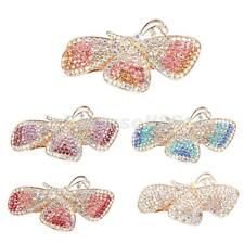 BARRETTES HAIR CLIPS FULL COLORFUL RHINESTONE DIAMANTE BATTERFLY VINTAGE
