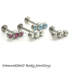 STEEL LABRET TRAGUS STUD WITH TRIPLE 3 GEM BALL TOP ~ 1.6mm (14g)