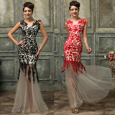 Sexy Women Lace Mermaid Long Evening Wedding Party Dress Formal Prom Ball Gowns