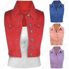 NEW LADIES CROPPED WAISTCOAT DENIM JACKET BLUE JEANS JACKETS SIZE 8 10 12 14 16