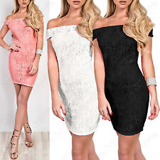 NEW LADIES CROCHET FLORAL LACE BARDOT DRESS WOMENS MINI BODYCON OFF SHOULDER TOP