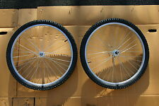 PAIR OF 26 inch ALLOY MTB BIKE WHEELS  + TYRES & TUBES + 6 OR 7 SPEED FREEWHEEL