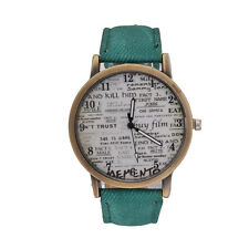 Fashion Cool Men Women Leather Stainless Steel Letter Analog Quartz Wrist Watch