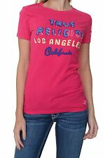 True Religion Top Oberteil Shirt T-Shirt TR CHAINSTITCH CREWNECK TEE3C FUSCHIA N