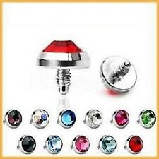 HUGE 8mm Titanium Gem Disc Top For Dermal Anchors 1.2mm Thread To Fit 1.6mm Base