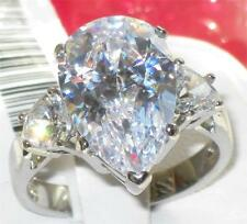 rt10  BIG 9CT PEAR CUT SIMULATED DIAMOND RING STAINLESS STEEL NOT TARNISH size R