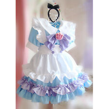Damen Blau Rosa Lolita Apron Dress Maid Kostüme Halloween Party Cosplay Costume