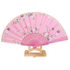 Spanish Flower Floral Fabric Lace Folding Hand Dancing Fan Party Favor 8 Colors