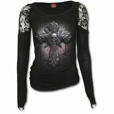 Spiral Direct Crucifix Skull & Blood Gothic Long Sleeve Lace Glove Top