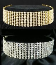 4 - 10 Rows made with Swarovski Crystal 925 Silver / Gold Choker Necklace BN030