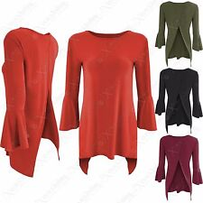 NEW LADIES BACK SPLIT 3-4 FLARED BELL SLEEVE TOP WOMENS ROUND NECK HILO 70s LOOK