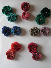 Pair of Small Hand Knitted Flower Brooches: Various Colours, by Knitted Nature