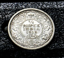 British India 1912 1/4 Rupee Silver Coin - King George V, Calcutta Mint!!~