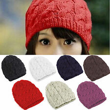 Women Ladies Winter Warm Knitted Beret Beanie Hats Knit Crochet Baggy Ski Caps