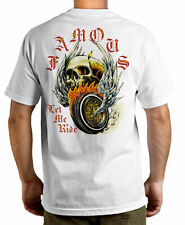 FAMOUS STARS AND STRAPS FSAS [LET ME RIDE SKULL] T-SHIRT FLYING WHEEL WINGS INK