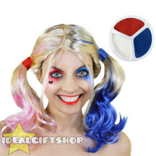HARLEQUIN WIG + FACE PAINT HALLOWEEN COSPLAY SQUAD ADULTS FANCY DRESS PINK BLUE
