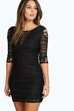Boohoo Womens Mia All Over Lace Panelled Bodycon Dress