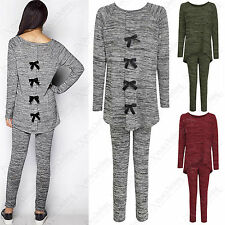 NEW WOMEN BOW BACK GREY MARL LOUNGEWEAR SUIT LADIES MELANGE HILO LOOK TOP BOTTOM