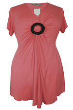 New Simply Be Emily Coral Beaded Brooch Tunic Top Sizes 16 - 26