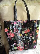 Ladies Quality TED BAKER small Tote bag Black with Flowers hard plastic, used