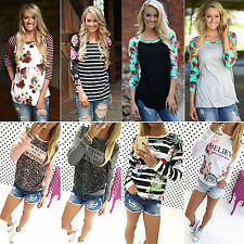 Women Floral Long Sleeve T Shirts Casual Blouse Loose Tops Jumper Sweatershirt