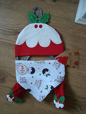 BABY BOY GIRL XMAS GIFT SETS,HAT BOOTEES BIB SET,100% COTTON, AGE 0-3, 3-6MTHS