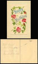 WW1 SILK Embroidered Old Postcard Happy Birthday Roses Flowers Novelty Greetings