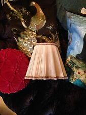 Vintage Pink faded French Chiffon pleated Lampshade satin lined gold trim 9 x10'