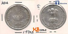 India 10 rupees 1970 B silver coin